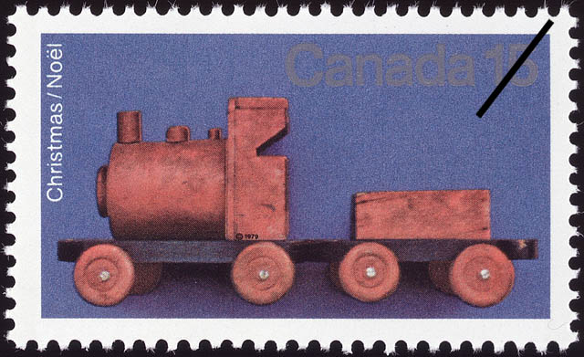 Hand-carved Wooden Train Canada Postage Stamp