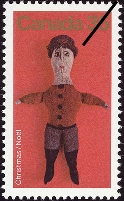 Knitted Stuffed Doll Canada Postage Stamp | Christmas
