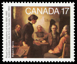 Robert Harris, A Meeting of the School Trustees Canada Postage Stamp | Royal Canadian Academy of Arts, 1880-1980