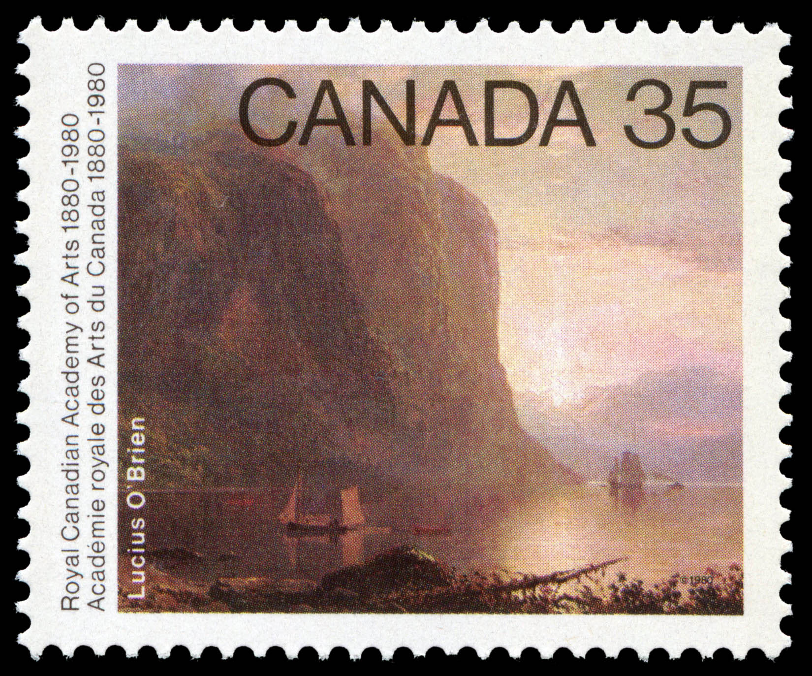 Lucius Richard O'Brien, Sunrise on the Saguenay Canada Postage Stamp | Royal Canadian Academy of Arts, 1880-1980