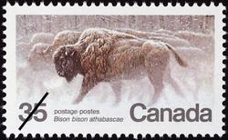 Wood Bison, Bison bison athabascae Canada Postage Stamp | Endangered Wildlife