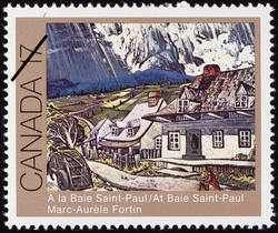 Marc-Aurele Fortin, At Baie Saint-Paul Canada Postage Stamp | Canadian Art