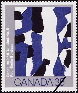 Paul-Emile Borduas, Untitled No. 6 Canada Postage Stamp | Canadian Art