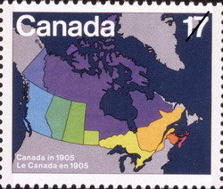 Canada in 1905 Canada Postage Stamp | Canada Day, Maps