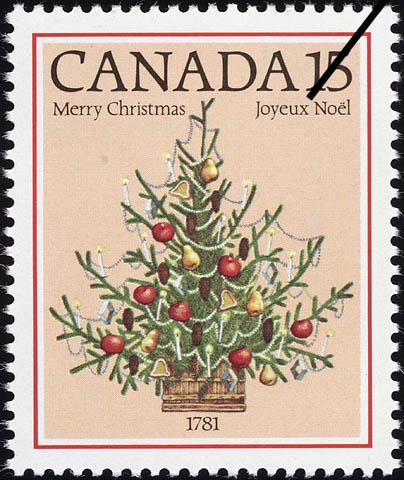 Christmas Tree, 1781 Canada Postage Stamp | Christmas