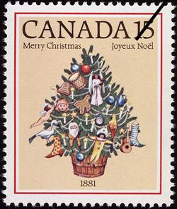 Christmas Tree, 1881 Canada Postage Stamp | Christmas