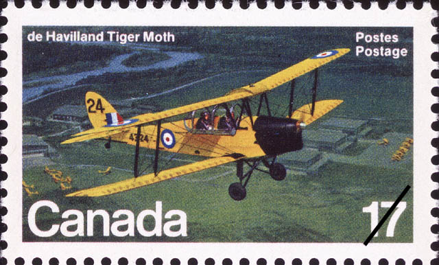 de Havilland Tiger Moth Canada Postage Stamp | Canadian Aircraft, Transport and Training Aircraft