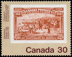 Champlain's Departure, 1908 Canada Postage Stamp | International Philatelic Youth Exhibition