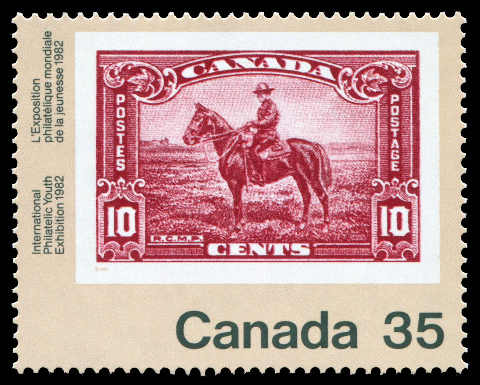 Mountie, 1935 Canada Postage Stamp | International Philatelic Youth Exhibition