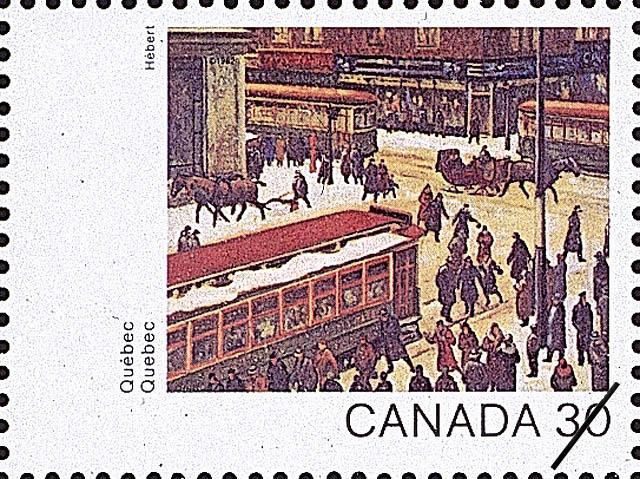 Quebec, Scene de rue, Montreal Canada Postage Stamp