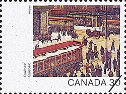 Quebec, Scene de rue, Montreal Canada Postage Stamp | Canada Day 1982, Canada Through the Eyes of Its Artists