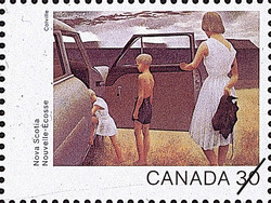 Nova Scotia, Family and Rainstorm Canada Postage Stamp | Canada Day 1982, Canada Through the Eyes of Its Artists