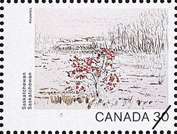 Saskatchewan, Brown Shadows Canada Postage Stamp | Canada Day 1982, Canada Through the Eyes of Its Artists