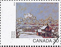 Ontario, Red Brick House Canada Postage Stamp | Canada Day 1982, Canada Through the Eyes of Its Artists
