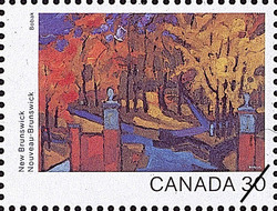 New Brunswick, Campus Gates Canada Postage Stamp | Canada Day 1982, Canada Through the Eyes of Its Artists