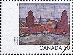 Alberta, Prairie Town, Early Morning Canada Postage Stamp | Canada Day 1982, Canada Through the Eyes of Its Artists