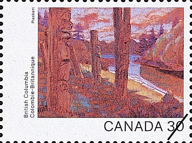 British Columbia, Totems at Ninstints Canada Postage Stamp