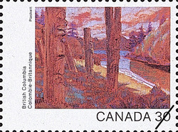 British Columbia, Totems at Ninstints Canada Postage Stamp | Canada Day 1982, Canada Through the Eyes of Its Artists