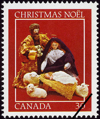 The Manger Scene Canada Postage Stamp