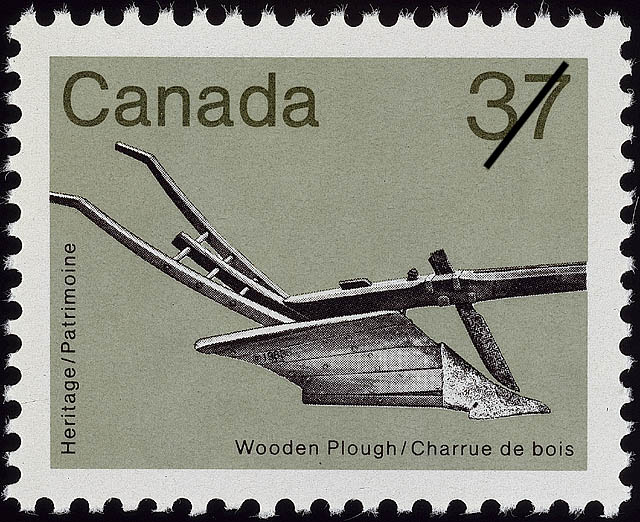Wooden Plough Canada Postage Stamp