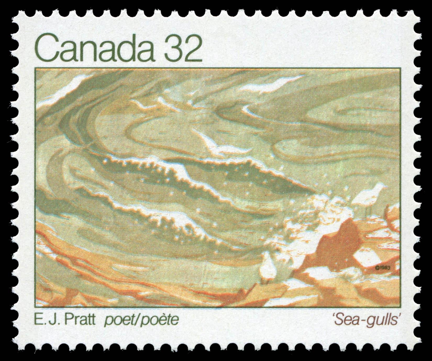 E.J. Pratt, Poet, Sea-gulls Canada Postage Stamp