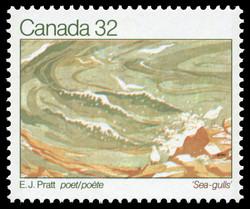E.J. Pratt, Poet, Sea-gulls Canada Postage Stamp | Authors