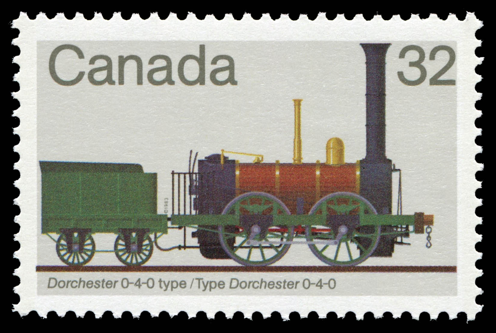 Dorchester 0-4-0 Type Canada Postage Stamp | Canadian Locomotives, 1836-1860