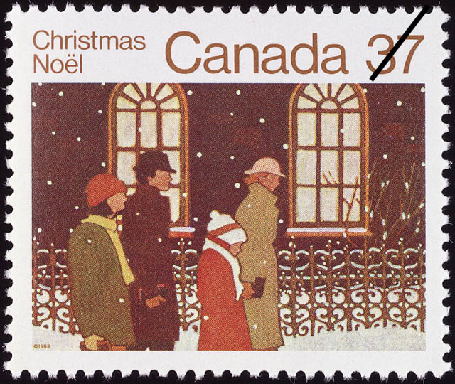Family on its Way to Church Canada Postage Stamp | Christmas