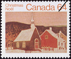 Country Chapel Canada Postage Stamp | Christmas