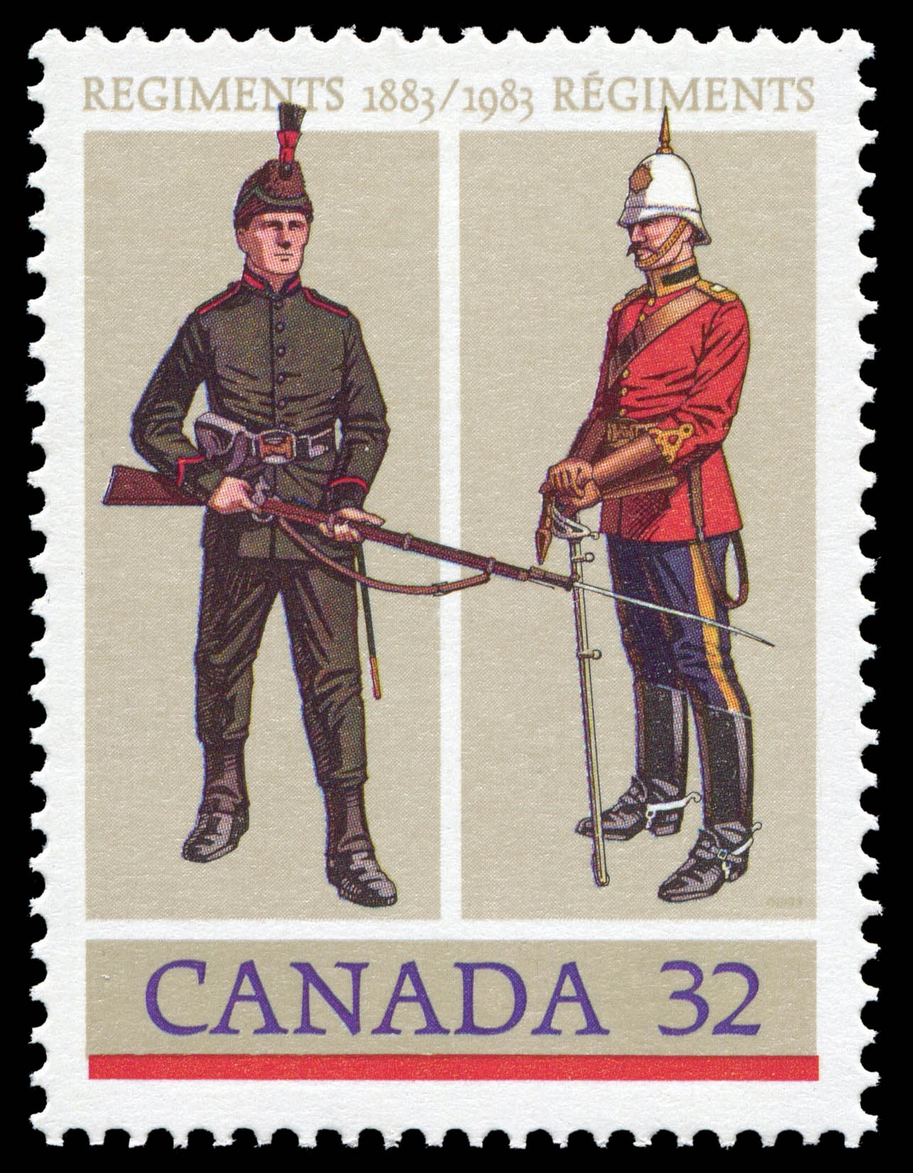 The Royal Winnipeg Rifles, The Royal Canadian Dragoons Canada Postage Stamp