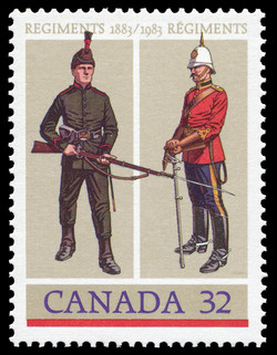 The Royal Winnipeg Rifles, The Royal Canadian Dragoons Canada Postage Stamp | Canadian Forces, Regiments, 1883-1983