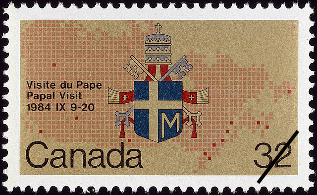 Papal Visit, 1984 IX 9-20 Canada Postage Stamp | Papal Visit to Canada
