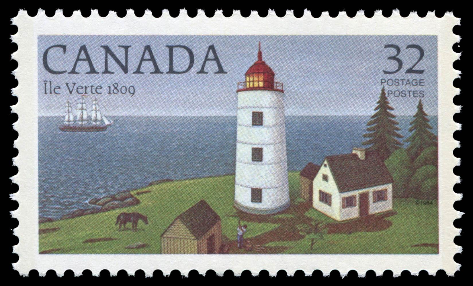 Ile Verte, 1809 Canada Postage Stamp | Lighthouses of Canada