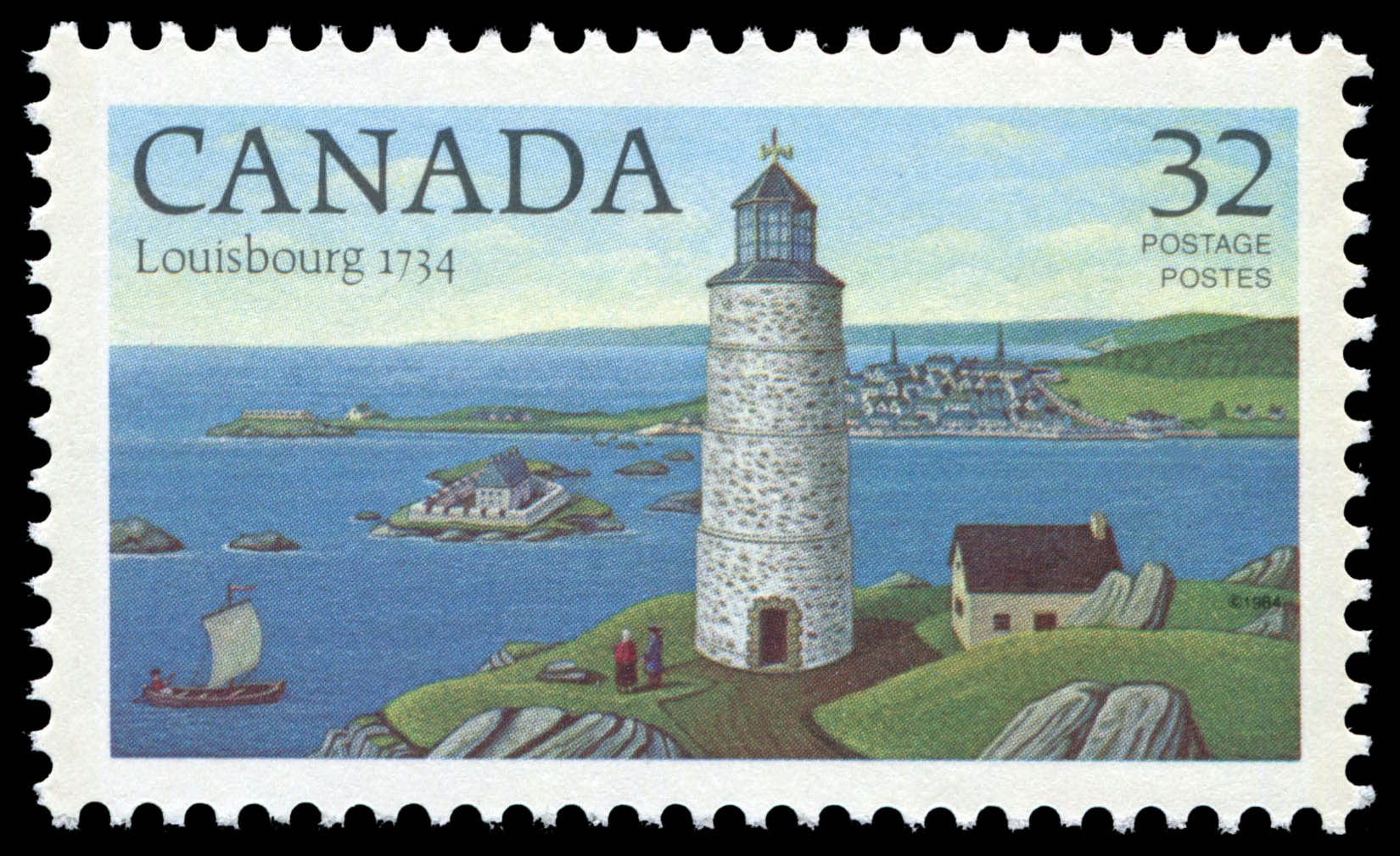 Louisbourg, 1734 Canada Postage Stamp | Lighthouses of Canada