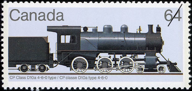 CP Class D10a 4-6-0 Type Canada Postage Stamp | Canadian Locomotives, 1860-1905
