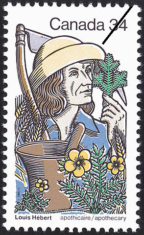 Louis Hebert, apothecary Canada Postage Stamp