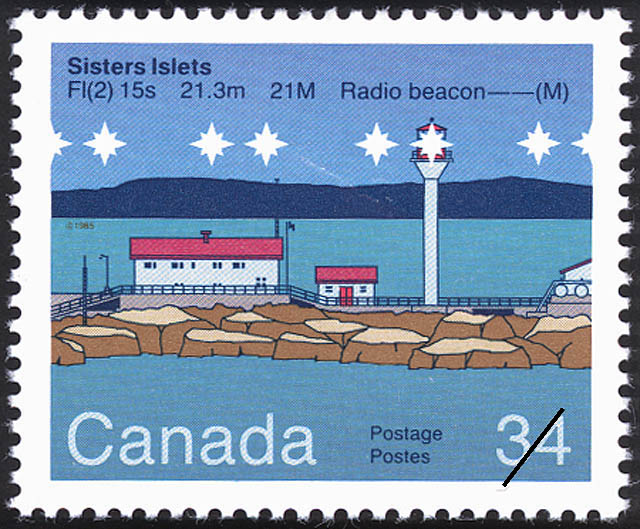 Sisters Islets, FI(2) 15s 21.3m 21M Radio Beacon -- (M) Canada Postage Stamp | Lighthouses of Canada