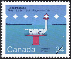 Pelee Passage, FI 4s 22.6m 5M Racon -- (M) Canada Postage Stamp | Lighthouses of Canada