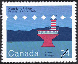 Haut-fond Prince, FI 2½s 25.3m 20M Canada Postage Stamp | Lighthouses of Canada