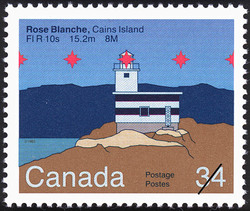 Rose Blanche, Cains Island, FI R 10s 15.2m 8M Canada Postage Stamp | Lighthouses of Canada
