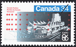 Canada Pavilion, Vancouver Canada Postage Stamp | Expo 86
