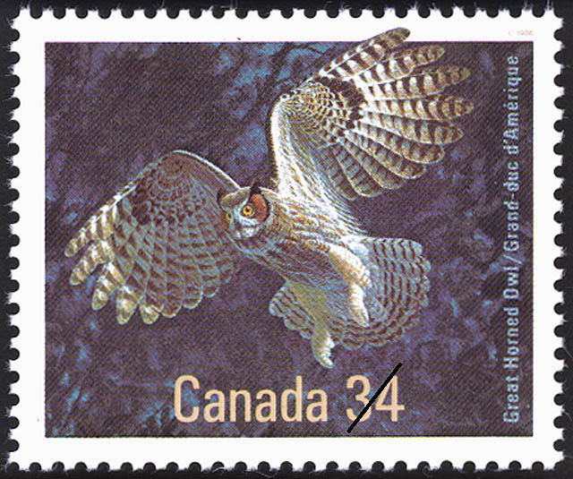 Great Horned Owl Canada Postage Stamp