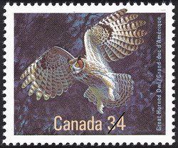Great Horned Owl Canada Postage Stamp | Birds of Canada
