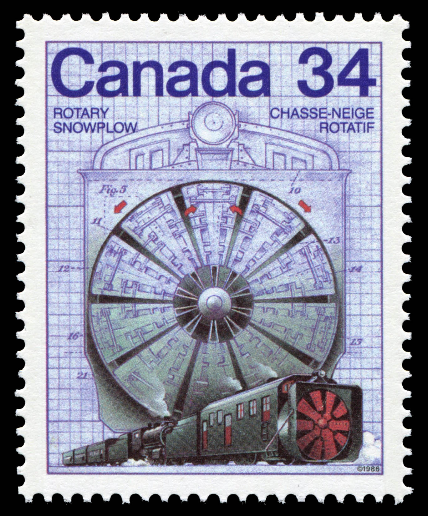 Rotary Snowplow Canada Postage Stamp