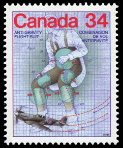 Anti-Gravity Flight Suit Canada Postage Stamp | Canada Day - Science and Technology, Canadian Innovations in Transportation
