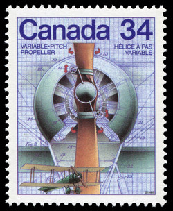 Variable-Pitch Propeller Canada Postage Stamp | Canada Day - Science and Technology, Canadian Innovations in Transportation