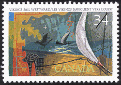 Vikings sail Westward Canada Postage Stamp | Exploration of Canada, Discoverers
