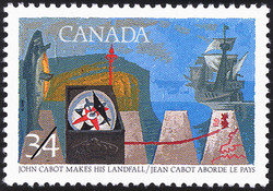 John Cabot makes his Landfall Canada Postage Stamp | Exploration of Canada, Discoverers