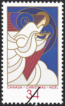 Angel with Crown Canada Postage Stamp | Christmas, Angels
