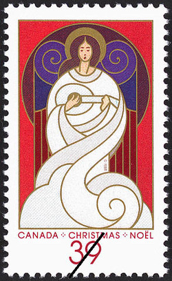 Angel with Lute Canada Postage Stamp | Christmas, Angels
